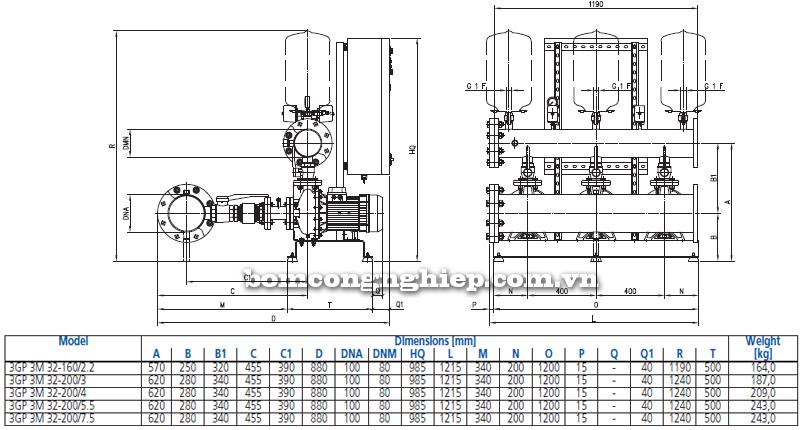 Máy bơm nước Ebara 3M-32 bảng thông số kích thước