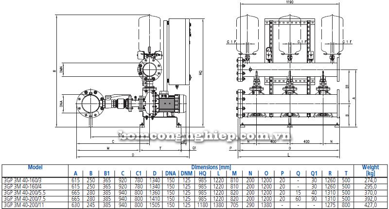 Máy bơm nước Ebara 3M-40 bảng thông số kích thước