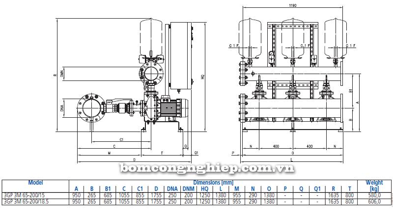 Máy bơm nước Ebara 3M-65 bảng thông số kích thước