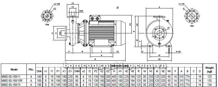 Máy bơm nước Ebara MMD 80-160 bảng thông số kích thước