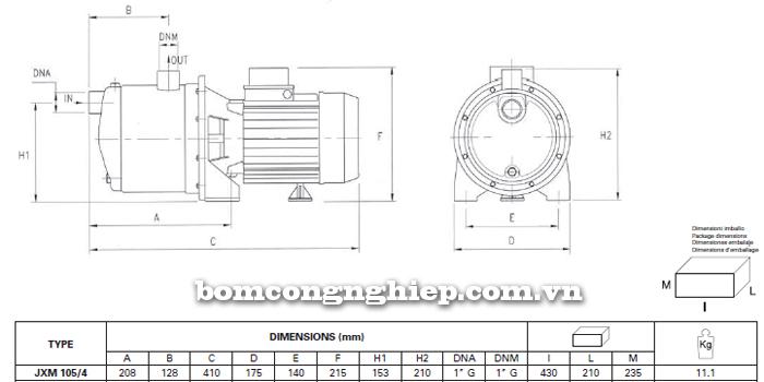 Máy bơm nước Foras JXM 105 bảng thông số kích thước
