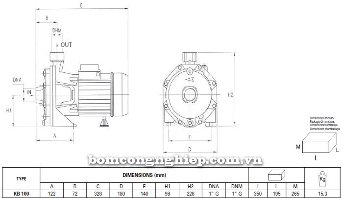 Máy bơm nước Foras KB 100 bảng thông số kích thước