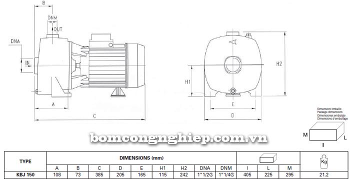 Máy bơm nước Foras KBJ 150 bảng thông số kích thước