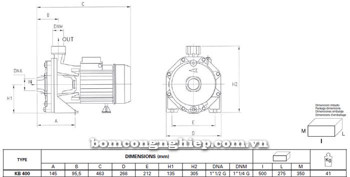 Máy bơm nước Foras KBT 400 bảng thông số kích thước