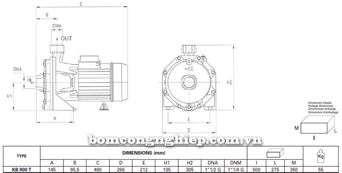 Máy bơm nước Foras KBT 900 bảng thông số kích thước