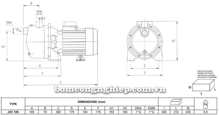 Máy bơm nước Foras XJF-105 bảng thông số kích thước
