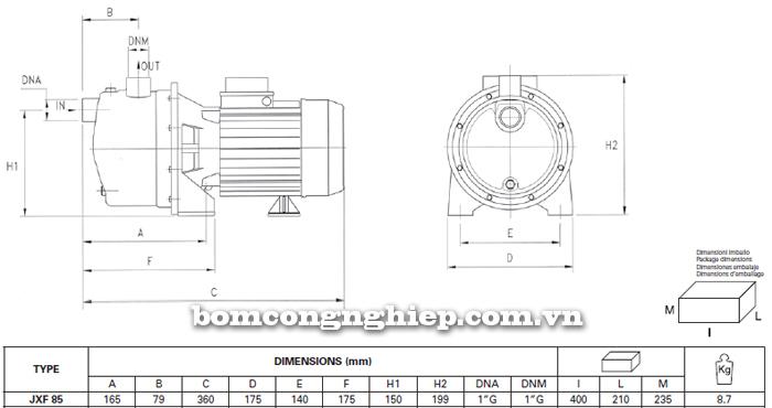 Máy bơm nước Foras XJF-85 bảng thông số kích thước
