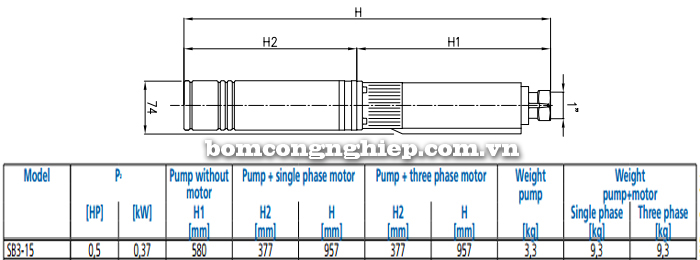 Máy bơm nước thả chìm Ebara SB3-15 bảng thông số kích thước