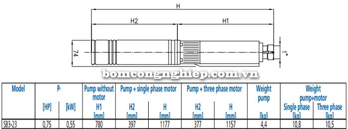 Máy bơm nước thả chìm Ebara SB3-23 bảng thông số kích thước
