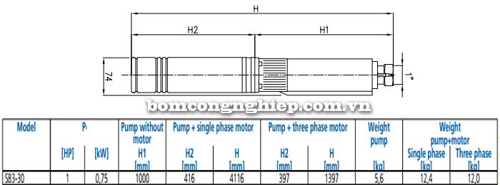 Máy bơm nước thả chìm Ebara SB3-30 bảng thông số kích thước