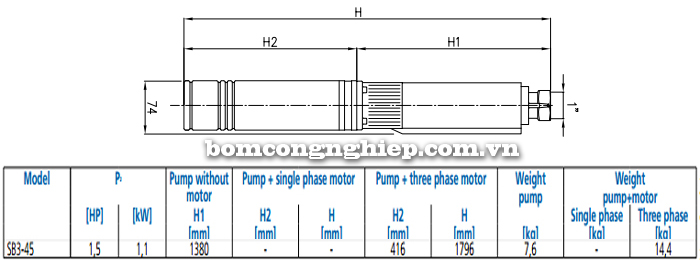Máy bơm nước thả chìm Ebara SB3-45 bảng thông số kích thước