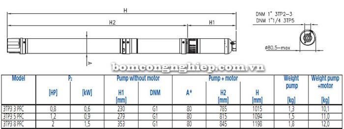 Máy bơm nước thả giếng Ebara 3TP3 bảng thông số kích thước