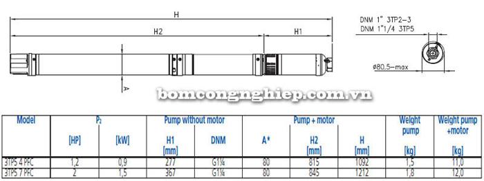 Máy bơm nước thả giếng Ebara 3TP5 bảng thông số kích thước