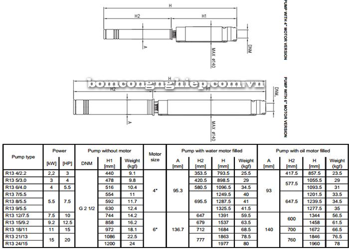 Máy bơm nước thả giếng Ebara SF6-R13 bảng thông số kích thước