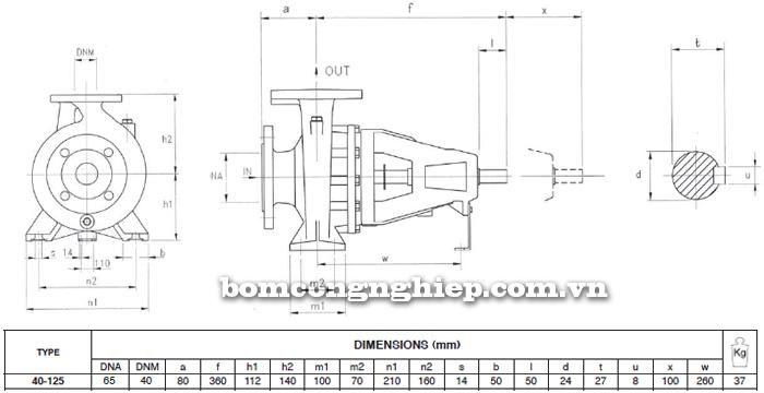 Máy bơm công nghiệp trục rời Foras MA40-125 bảng thông số kích thước