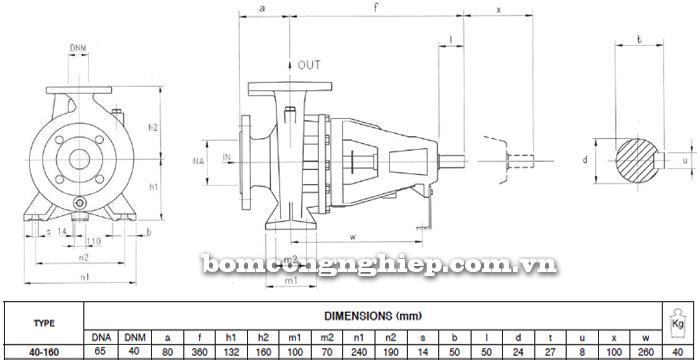 Máy bơm công nghiệp trục rời Foras MA40-160 bảng thông số kích thước