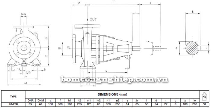 Máy bơm công nghiệp trục rời Foras MA40-250 bảng thông số kích thước