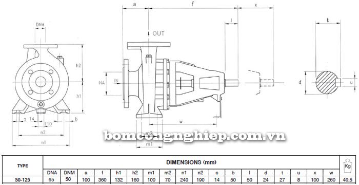 Máy bơm công nghiệp trục rời Foras MA50-125 bảng thông số kích thước