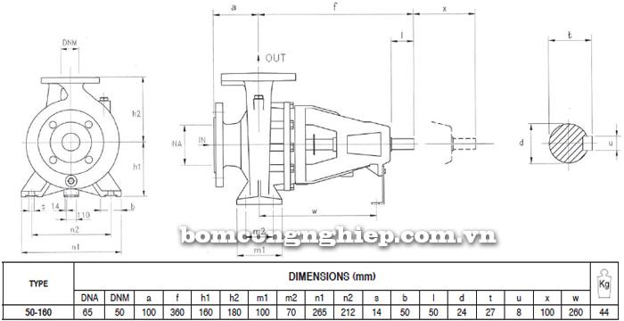 Máy bơm công nghiệp trục rời Foras MA50-160 bảng thông số kích thước