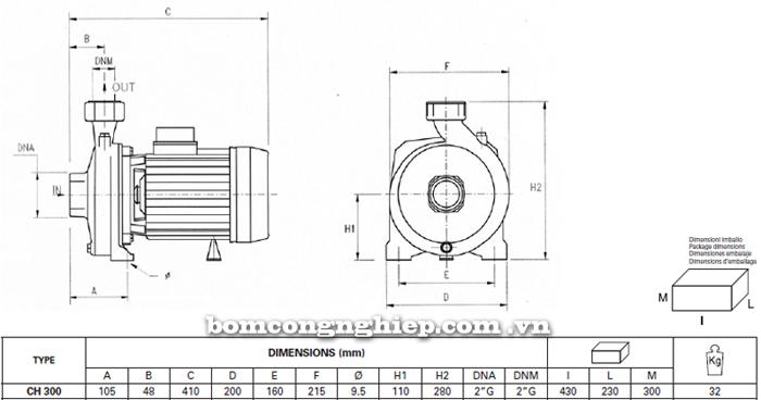 Máy bơm lưu lượng Pentax CH 300 bảng thông số kích thước