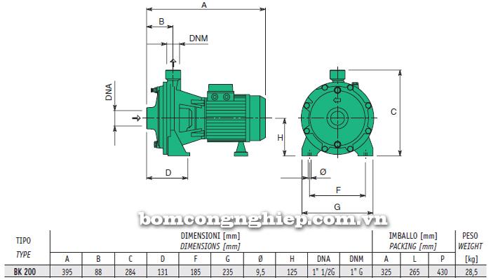 Máy bơm nước 2 tầng cánh sealand BK T200 bảng thông số kích thước