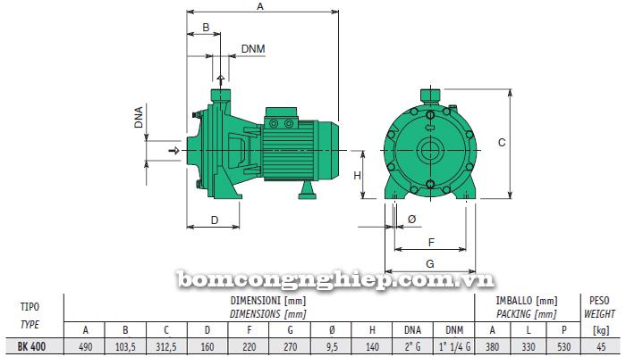 Máy bơm nước 2 tầng cánh sealand BK T400 bảng thông số kích thước