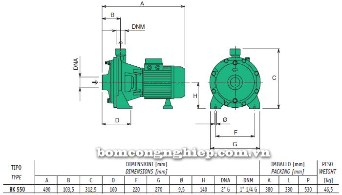 Máy bơm nước 2 tầng cánh Sealand BK T550 bảng thông số kích thước