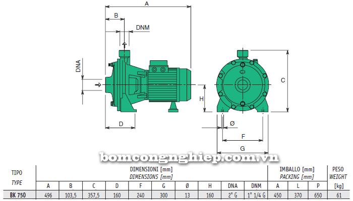 Máy bơm nước 2 tầng cánh Sealand BK T750 bảng thông số kích thước