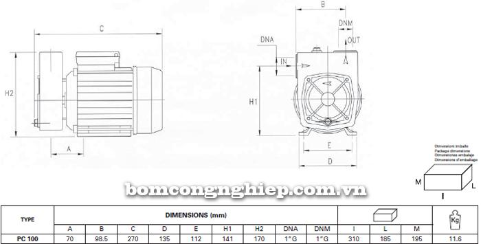 Máy bơm nước đầu chuột Foras PC-100 bảng thông số kích thước