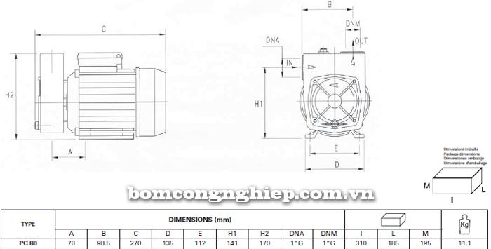 Máy bơm nước đầu chuột Foras PC-80 bảng thông số kích thước