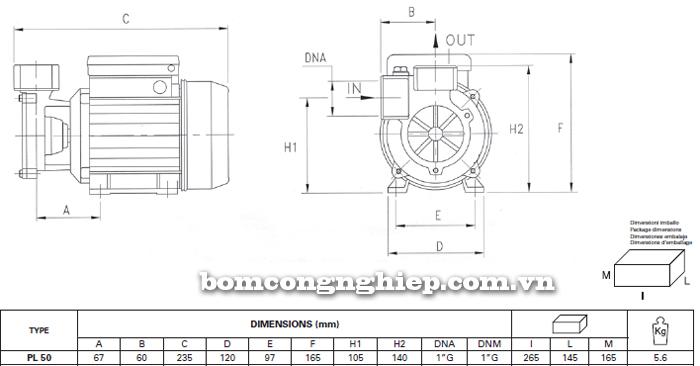 Máy bơm nước đầu chuột Foras PL-50 bảng thông số kích thước