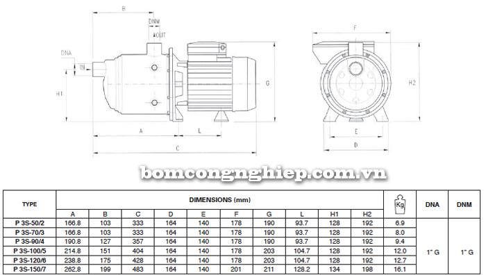 Máy bơm nước đầu inox Foras Plus 3S bảng thông số kích thước