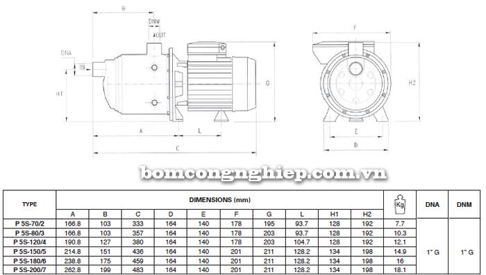 Máy bơm nước đầu inox Foras Plus 5S bảng thông số kích thước