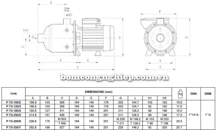 Máy bơm nước đầu inox Foras Plus 7S bảng thông số kích thước