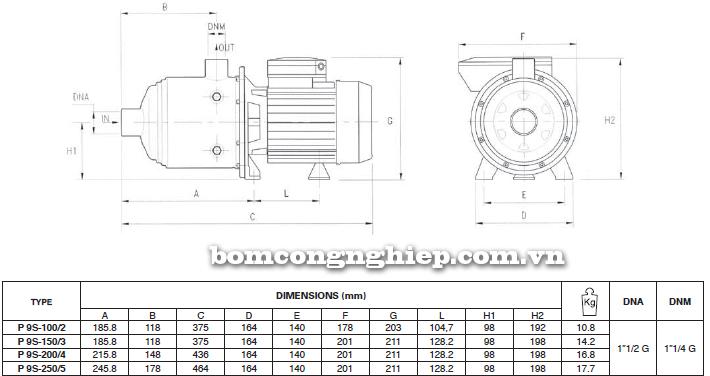 Máy bơm nước đầu inox Foras Plus 9S bảng thông số kích thước