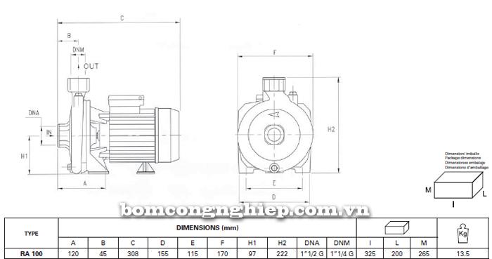 Máy bơm nước Foras RA-100 bảng thông số kích thước