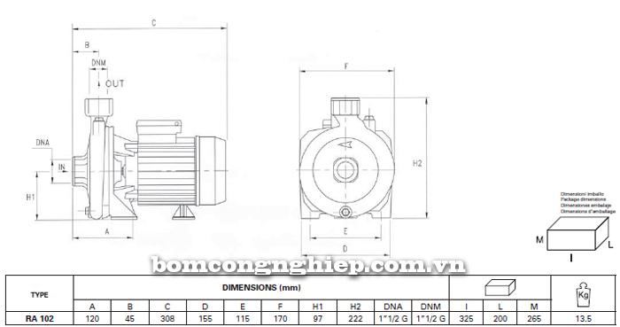 Máy bơm nước Foras RA-102 bảng thông số kích thước