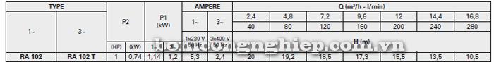 Máy bơm nước Foras RA-102 bảng thông số kỹ thuật