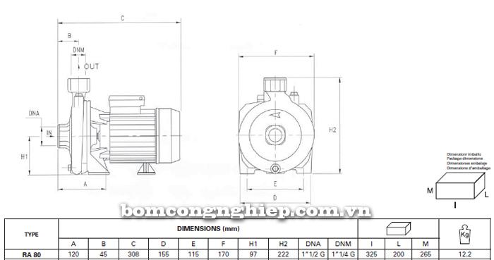 Máy bơm nước Foras RA- 80 bảng thông số kích thước