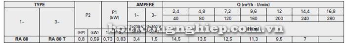 Máy bơm nước Foras RA- 80 bảng thông số kỹ thuật