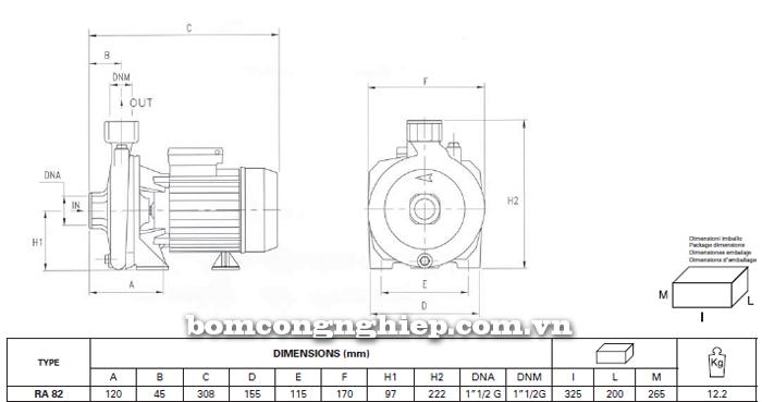 Máy bơm nước Foras RA- 82 bảng thông số kích thước