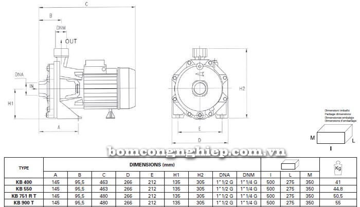Máy bơm nước ly tâm Foras KBT 400-900 bảng thông số kích thước