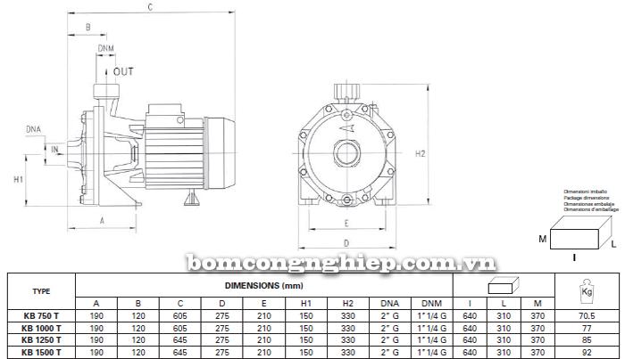 Máy bơm nước ly tâm Foras KBT 750-1500 bảng thông số kích thước