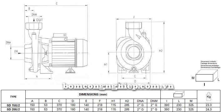 Máy bơm nước ly tâm Foras SD 150-200 bảng thông số kích thước
