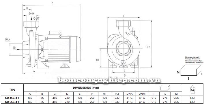 Máy bơm nước ly tâm Foras SD 450-550T bảng thông số kích thước