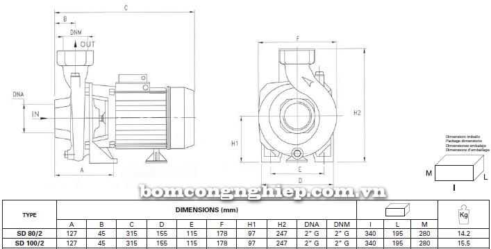 Máy bơm nước ly tâm Foras SD 80-100 bảng thông số kích thước