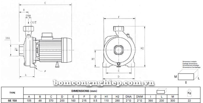 Máy bơm nước ly tâm Foras SE 150 bảng thông số kích thước