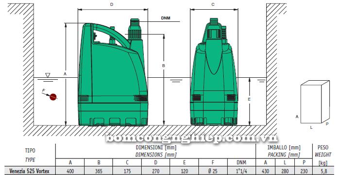 Máy bơm nước thả tõm Sealand VENEZIA 525 bảng thông số kích thước