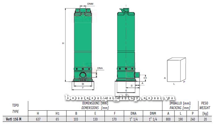 Máy bơm nước thả tõm Sealand Verti 156M bảng thông số kích thước
