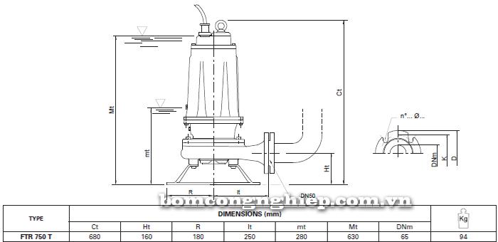 Máy bơm nước thải Foras FTR 750 T bảng thông số kích thước